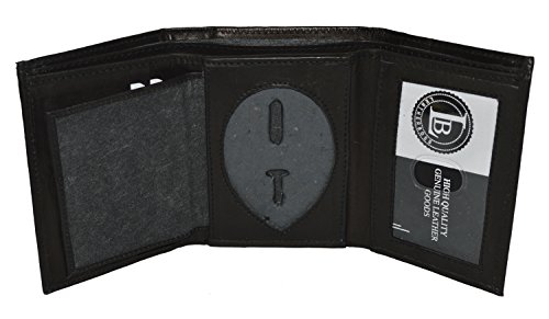 Mens Leather Wallet Sheriff Officer Police Shield Fire Security Id Holder New ! (Black) ()