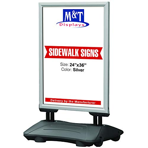 (High Wind Weatherproof Sidewalk Advertising Sign Spring Base for Posters, Snap Open Frame, Double Sided, Water Base, 24x36 Silver)