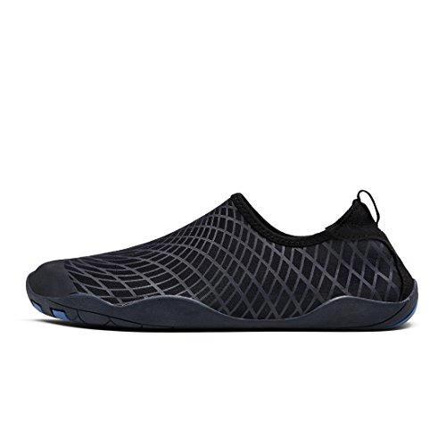 BTDREAM Männer und Frauen Quick-Dry Barfuß Wasser Haut Schuhe Aqua Socken mit Drainage-Loch für Beach Swim Surf Dunkelblau