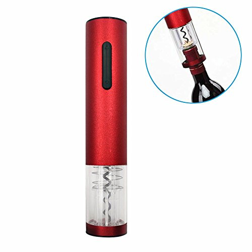 Valuetom Rechargeable Electric Wine Corkscrew Opener Remover Stainless Steel with Foil Cutter (Wine Red)