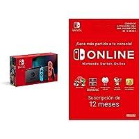 Nintendo Switch - Consola Estándar, Color Azul Neón/Rojo Neón (Modelo 2019) Switch Online - 12 Meses (Código de Descarga…