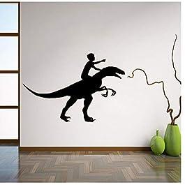 Dinosaur Rider Vinyl Decal Wall Sticker Nursery Interior Wall Graphics Bedroom Children's Kid Room Wall Art 56x82cm
