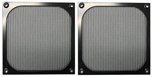 140mm Black Anodized Aluminum Computer PC Case Fan Grill/Guard/Filter (Set of (Aluminum Fan Filter)