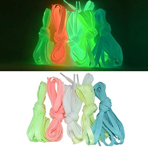 Led Shoe Laces,JUSTDOLIFE 5 Pairs Led Shoe Laces for Shoes Flashing Light Up Shoelace Sneaker Shoelaces Athletic Shoelaces Perfect for Dancing Hip-hop Cycling Running Hiking Skating