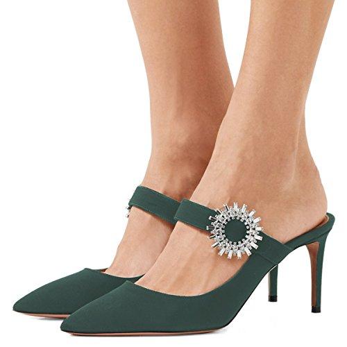 XYD Women Pointed Toe Mule Slide Sandals Rhinestone Buckle High Heel Slip On Slipper Pumps Size 9 Deep Green by XYD