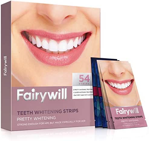 Fairywill Teeth Whitening Strips Pack of 54 Strips, Advanced Dental Formula, Enamel Safe for Sensitive Teeth, Include Professional Effect White Strips and 1 Hour Express 3D Whitestrip