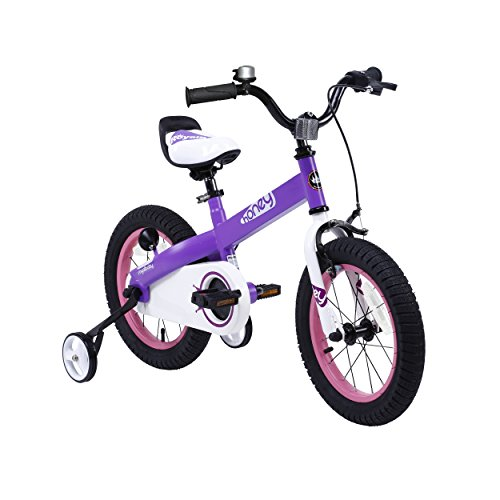 RoyalBaby-CubeTube-Kids-bikes-unisex-childrens-bikes-with-training-wheels-various-trendy-features-gifts-for-fashionable-boys-girls-Lilac-Honey-18-inch