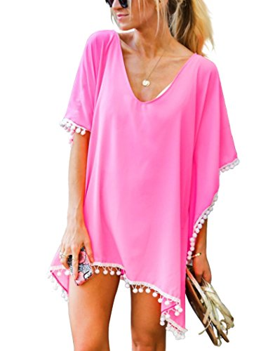 - Women's Chiffon Pom Pom Kaftan Swimwear Bathing Suit Beach Cover up Free Size Light Pink