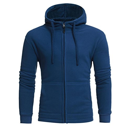 Men's Hoodie,Aritone Men's Autumn Winter Long Sleeve Hoodie Polar Fleece Sweatshirt Tops Jacket Coat (2XL, Blue) Long Sleeve Polar Fleece Top