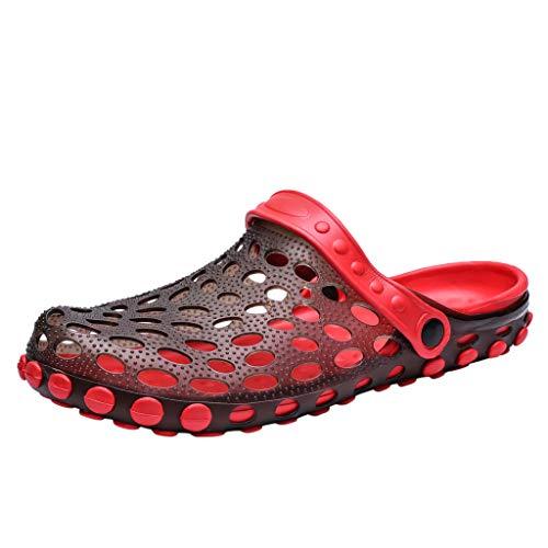 (ANJUNIE Outdoor Garden Clogs Sandals Slippers Mens Flat Walking Beach Shoes Sea Quick Hole Beach Shoe(Red,43))