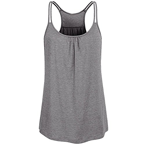 LUCA Women Solid Sleeveless Round Neck Blouse Wrinkled Loose Racerback Workout Tank Top(Gray 2,L)