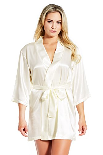 Jovannie Satin Robe 3/4 Sleeve with Matching Sash Short Length (Ivory, S)