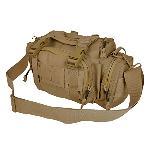 GLORYFIRE Tactical Deployment Bag Military Molle Sling Waist Shoulder Pack Versatile Bumbag Fanny Pack for Outdoor Camping Hiking (Tan) Deployment Pack