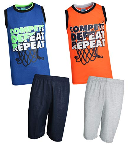 Tuff Guys Boys' 4-Piece Athletic Themed Pajama Top and Short Set, Compete/Respect, Size 10/12'