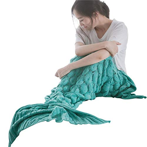 Chuangyongpin 1Pc Mermaid Tail Blanket Fish Scale Design Blanket Yarn Knitted Handmade Crochet Mermaid Blanket Soft Sleeping Camping Blanket G L