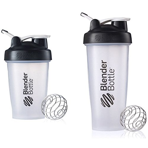 Price comparison product image 2 Pack Blender Bottle Classic 20 Oz & 28 Oz Classic loop top,  Shaker Cup By SUNDESA Protein Shaker,  Clear Black