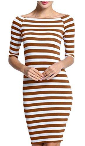 Womens Long Dress Shoulder Maxi Off Brown Dresses Bodycon Striped ainr dq6wnRFBd