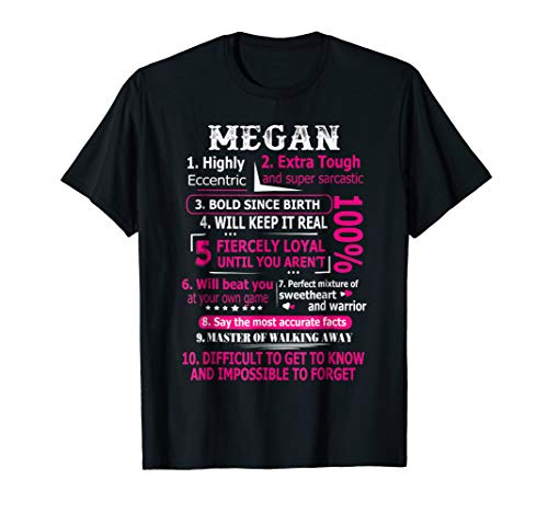 MEGAN Highly Eccentric 10 Facts T-shirt First Name Tee from MEGAN Tee