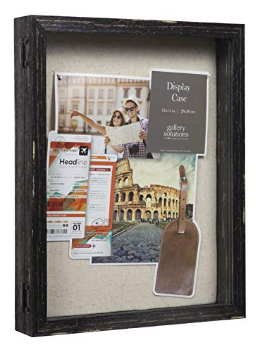 Everly Hart Collection 11x14 Distressed Black Picture Frame Display Shadow - Frame Picture Wide Black Distressed