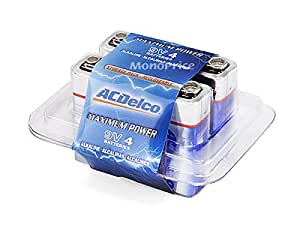 Monoprice ACDelco Maximum Power 9-Volt Alkaline Battery 4-Pack, Re-closable