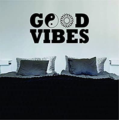 Good Vibes Yin Yang Flower Quote Decal Sticker Wall Vinyl Art Words Decor