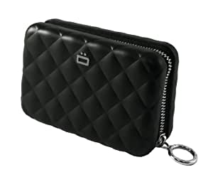 Ogon Quilted Zipper Aluminium Wallet for Women | Rfid Safe - 24 cards (Black)