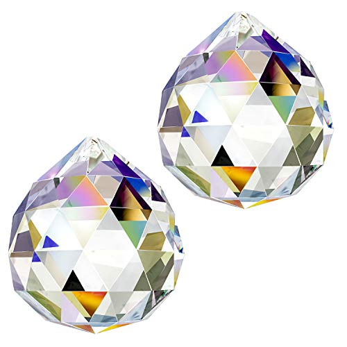 CandyHome Glass Crystal Ball Prism Pendant Feng Shui Suncatcher Hanging Window Rainbow Suncatcher Crystal 40mm Pack of 2
