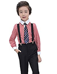 SK Studio Boys' 4 Piece Wedding Stripe Shirt Pants Suspenders Suits