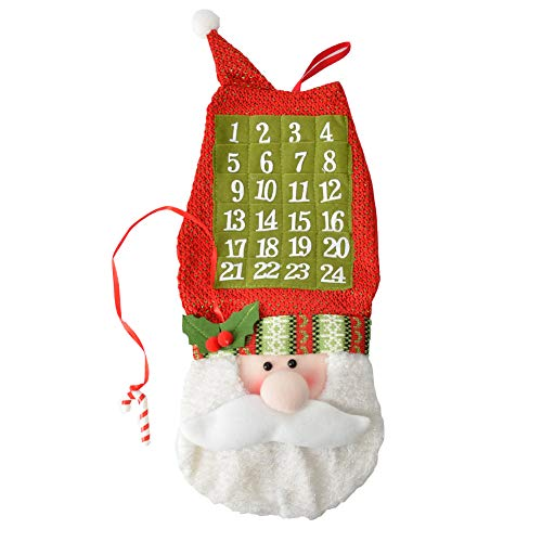 Milky House Christmas Advent Calendar, 3D Santa Advent Calendar Fabric Advent Calendar Wall Hanging Decorations (24 Days Countdown to Christmas)