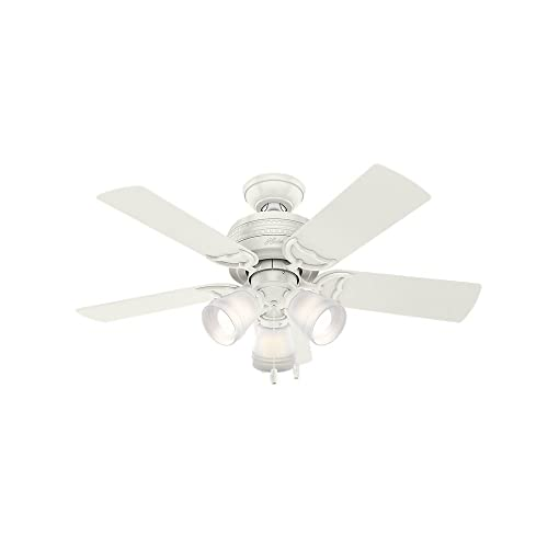 Hunter Indoor Ceiling Fan, with pull chain control – Prim 42 inch, White, 51104