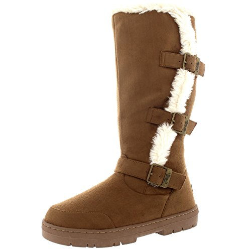 Holly Womens Tall Three Buckle Waterproof Winter Rain Snow Boots Inside Zip Light Tan