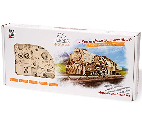UGEARS V-Express Steam Train with Tender 3D Wooden