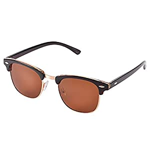 Semi Rimless Clubmaster Sunglasses for men- Half Frame Polarized Classic With Box FEIDU FD4003