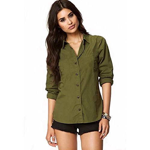 18e97539a52f5 Fashion Village Green Solid Shirt for Womens Girls  Amazon.in ...