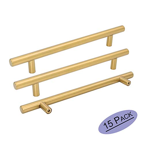 (Goldenwarm 15pcs Brushed Brass Cabinet Cupboard Drawer Door Handle Pull Knob LS201GD192 for Furniture Kitchen Hardware 7-1/2in Hole Center 10in Overall Length)