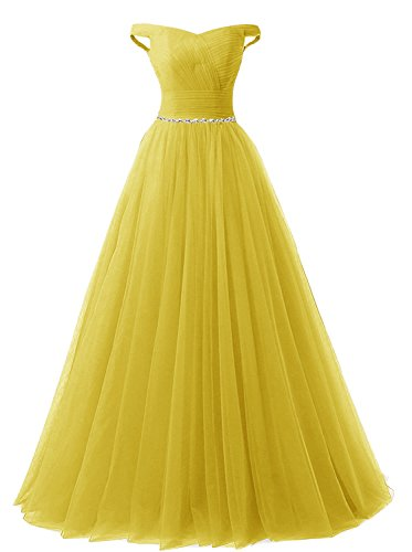 APXPF Women's Long Tulle Crystal Formal Prom Dress Quinceanera Dress Ball Gown Yellow ()