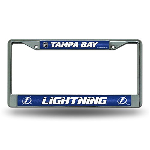 (NHL Tampa Bay Lightning Bling Chrome License Plate Frame with Glitter Accent)