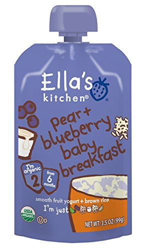 Ella's Kitchen Organic Stage 1, Pear + Blueberry Baby Breakfast, 3.5 Ounce (Pack of 6) (Rice Breakfast)