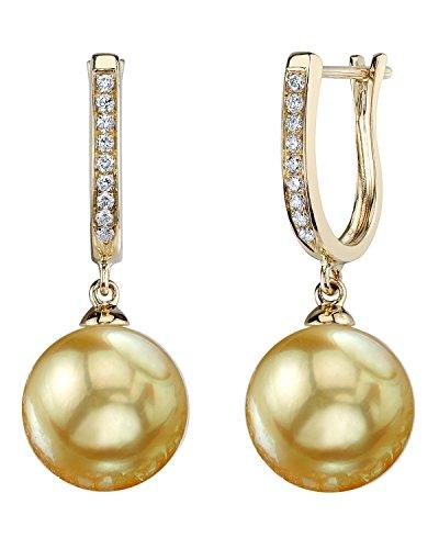 14K Gold Golden South Sea Cultured Pearl & Diamond Kim Earrings
