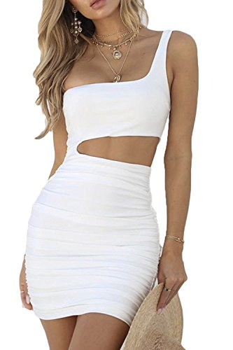 CHYRII Women One Shulder Bodycon Ruched Sleeveless Sexy Short Club Dress White S