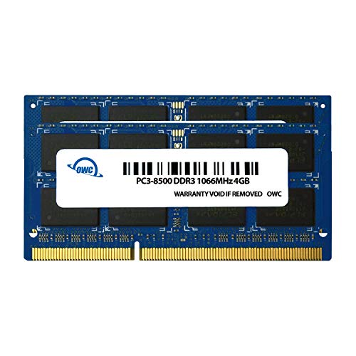 OWC 8 GB (2 X 4GB) PC8500 DDR3 1066 MHz 204-pin Memory Upgrade Kit, (OWC8566DDR3S8GP), For MacBook Pro, MacBook, Mac Mini, and iMac