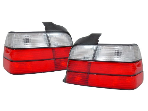 (Euro Red/Clear Tail Lights By DEPO FIT FOR 1992-1998 BMW E36 3 Series 4D Sedan)
