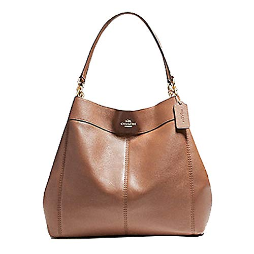 Coach Large Lexy Pebble Leather Shoulder Bag in Saddle