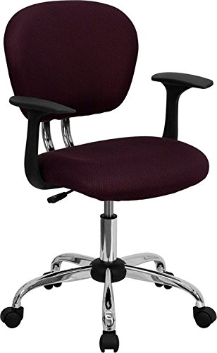 Brielle Mid-Back Burgundy Mesh Swivel Home/Office Task Chair w/Arms
