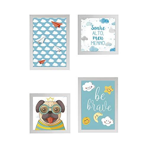 Conjunto Quadros Decorativos Infantil Azul e Branco Moldura 58x58cm - Prolab Gift