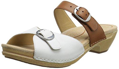 Dansko Women's Lottie Dress Sandal, White/Caramel Full Gr...