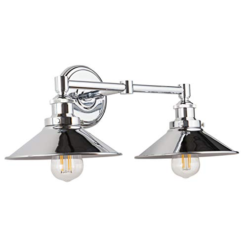 (Andante LED Industrial 2 Light Wall Sconce - Chrome Fixture - Linea di Liara LL-WL427-PC)