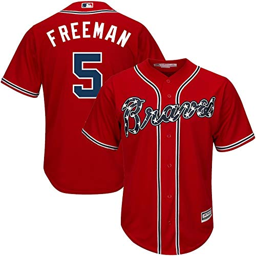 VF LSG 2019 Freddie Freeman Atlanta Braves #5 Youth Home Cool Base Player Name and Number Baseball Jersey T-Shirt for Men Women Boys