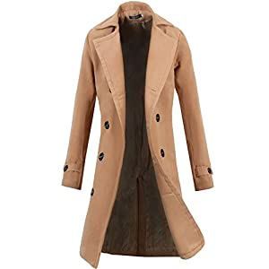 Lende Men's Trench Coat Winter Long Jacket Double Breasted Overcoat