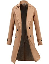 Lende Men's Trench Coat Winter Long Jacket Double Breasted Overcoat